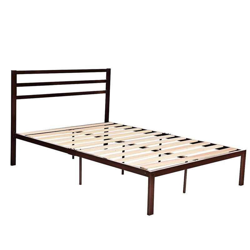 Mordern Full Size Steel Bed Frame With Stable Platform And Wooden