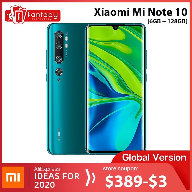Global Version Xiaomi Mi Note 10 6GB RAM 128GB ROM 108MP Penta Camera Snapdragon 730G Octa-core Cellphone 6.47'' Curved Display