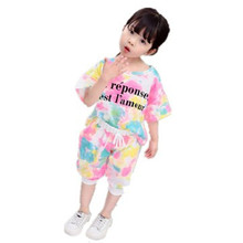 Cute baby girl summer clothes Children  Clothes set Short Sleeve Neon Fashion Toddler Girls Baby Suit For Kid 1 2 3 4 5years canis розовый 4 5years