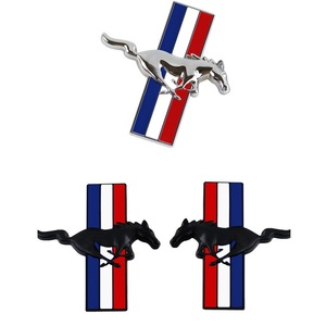 Image 3 - 1Pair Door Fender 3D Emblem Car Sticker Running Horse For Ford Mustang Badge Logo Decal Car Styling Free Shipping