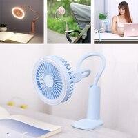 Tragbare USB Fan flexible mit LED licht 2 Geschwindigkeit Einstellbar Kühler Mini Fan Handliche Kleine Schreibtisch Desktop USB Lüfter für kind|Ventilatoren|Haushaltsgeräte -
