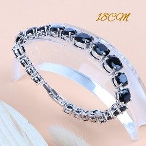 Image 3 - Black Cubic Zirconia Silver 925 Bridal Jewelry Sets Women Wedding Costume Necklace Sets Ring Earrings Pendant Bracelet Jewelry