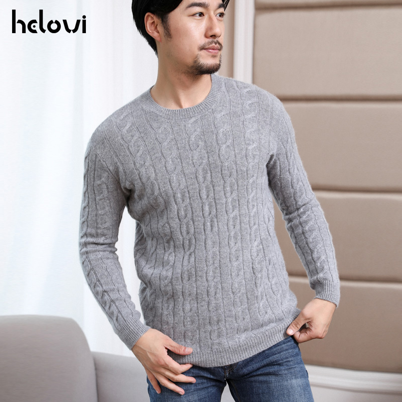 Helovi 2019   Winter Sweater Men Sweater Long Sleeve 100% Cashmere Weater For Man Knit Men Sweater Large Size Solid Color Retail