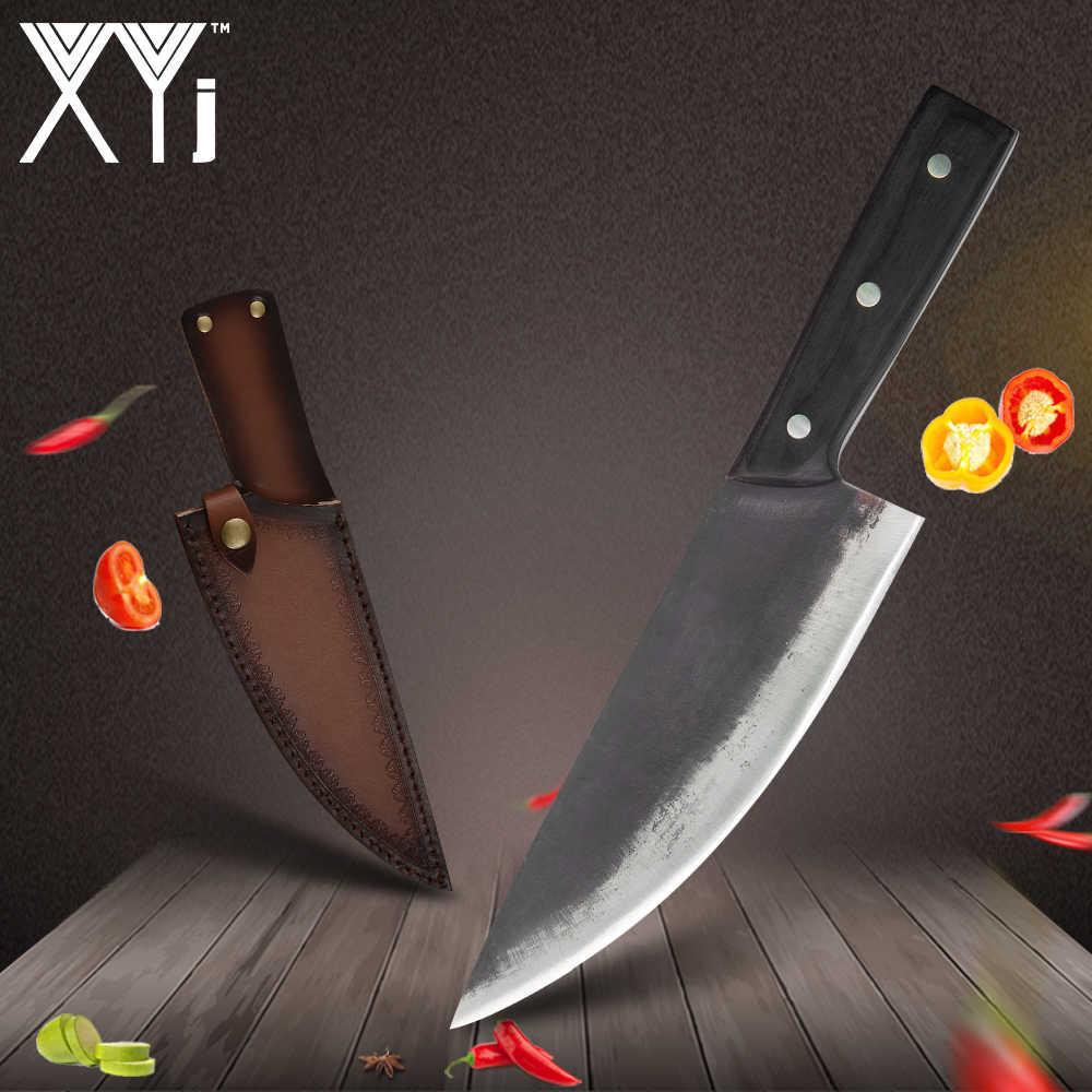 XYJ 8 Inch Buatan Tangan Ditempa Pisau Baja Karbon Tinggi Full Tang Cina Golok Daging Daging Steak Ikan Dapur pisau