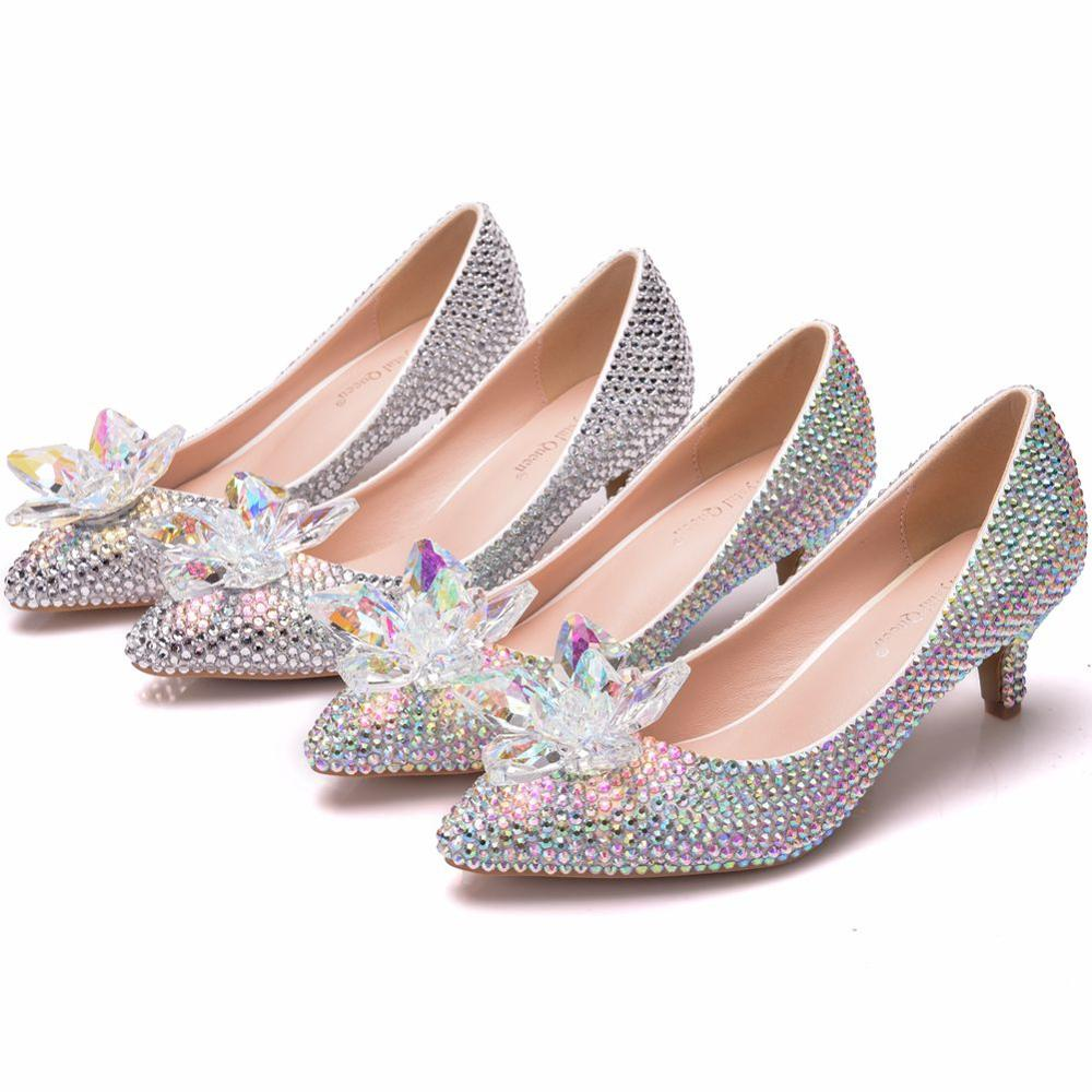 Crystal Queen Wedding Shoes Bride Women Summer Pumps Crystal Lady Big Size High Heels Princess Shoes Silver Colorful Discolora