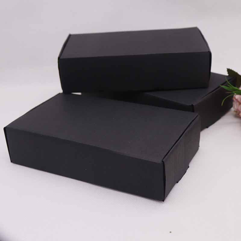 2019 1pcs Corrugated Paper Box DIY18.5x11x4.5cm Black Color For Wedding Favors Birthday Party Candy Cookies Christmas Gift Boxes