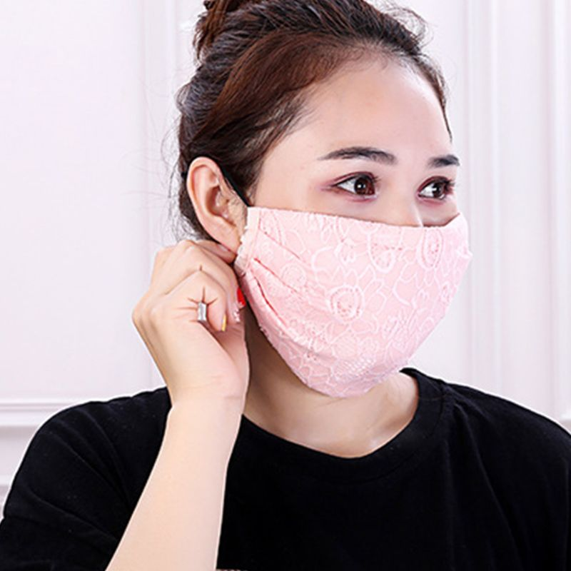 Women Crochet Floral Lace Winter Warm Mouth Mask Anti Dust Windproof Respirator 95AB