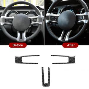3Pcs Steering Wheel Decorative Cover Carbon Fiber Fit for Ford Mustang 2009 2010 2011 2012 2013 Cover Car Interior Accessory