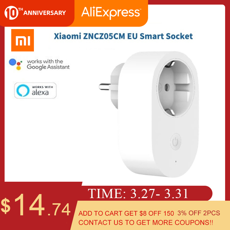 Original Xiaomi Mijia Smart Socket EU Plug Wireless Smart Plug Time Switch Remote Control Works With Alexa/Google Assistant
