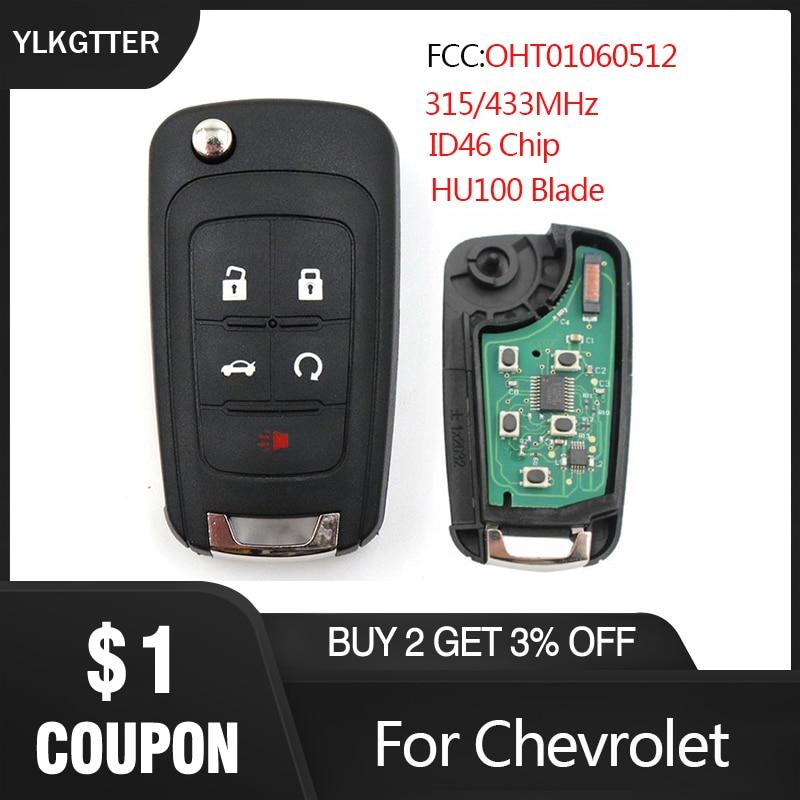 YLKGTTER 5 botón alarma de Control Fob llave remota para Chevrolet Aveo Cruze Malibu Spark 2010-2016 con 315 /433MHz ID46 Chip