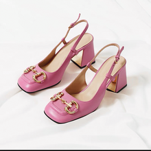 Spring horse bit buckle thick heel Hepburn style high heel shoes women's 2021 new square head Mary Jane shoes back empty sandals