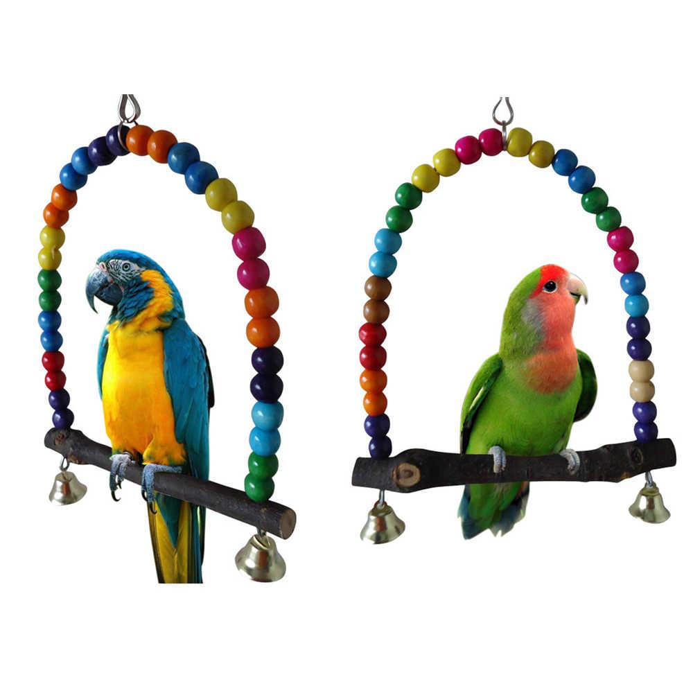 Perroquet en bois naturel, oiseaux, jouet à balancer, fournitures pour oiseaux, perles colorées, jouet, Cage à bascule, pour animaux de compagnie