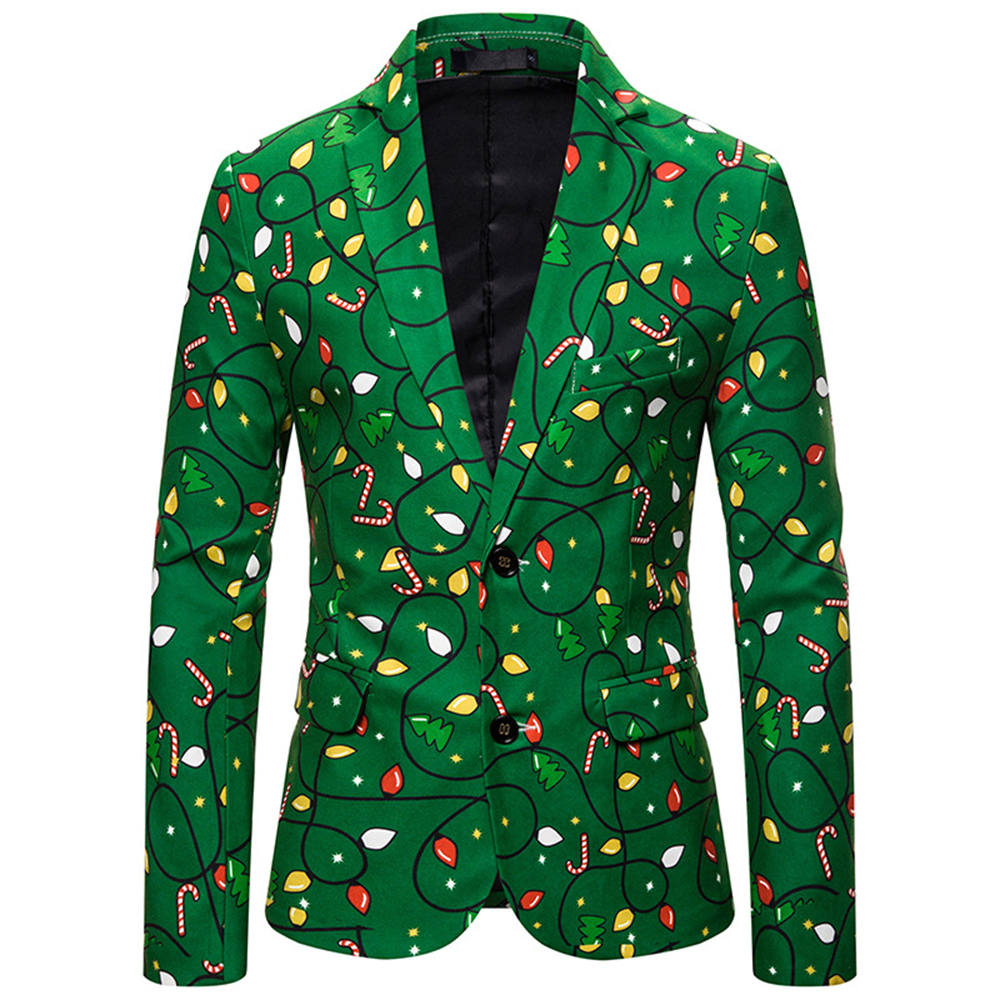 Christmas Green Printed Men Suit Special Event Tuxedo Performance Singer Jacket Cosplay Happy Party Blazer Carnival Casual Coat