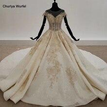 HTL1313 גליטר חתונה שמלה עם חרוז זהב Applique שמפניה חתונה שמלות כלה ללא משענת Boho שמלות כלה