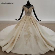 HTL1313 vestido de novia brillante con cuentas aplique dorado vestidos de novia color champán para novia espalda descubierta Bohemia boda Vestido
