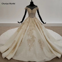 فستان زفاف لامع HTL1313 مع خرز ذهبي مزين بالشمبانيا فساتين زفاف للعروس بدون ظهر بوهو فستان زفاف