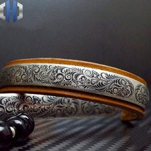 Original Design 925 Sterling Silver Bracelet Vintage Engraved Couple EDC