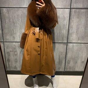 Image 3 - ladies leaher coat long women genuine leather windbreak