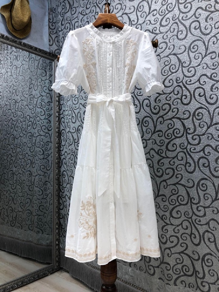 100%Cotton Women's Dress 2021 Summer Fashion Style Ladies Luxurious Embroidery Short Sleeve Mid-Calf Party Vintage Dress Vestido