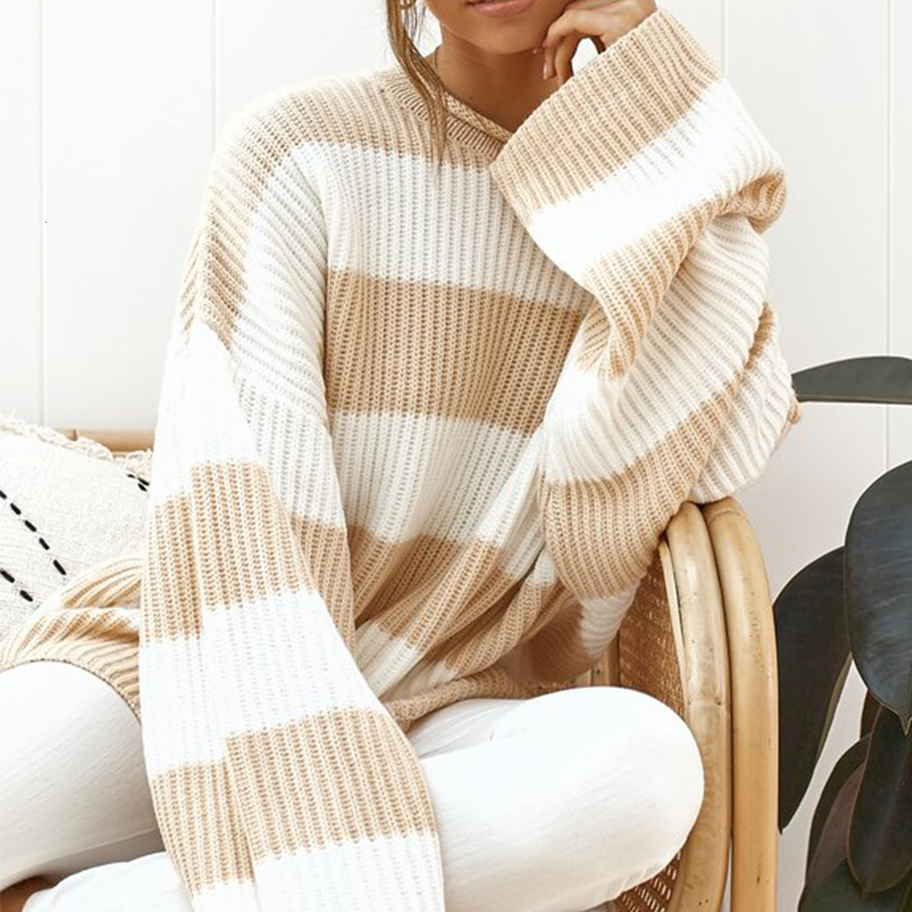 Casual striped pregnant women sweater female autumn 2020 long sleeve loose sweater winter pregnant knit ladies sweater