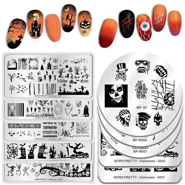 Urodzony PRETTY tłoczenie talerze kwiaty Pumpkis latarnie nietoperze Mix obraz prostokąt Nail Art szablon szablon szablon Halloweens