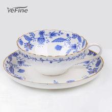 Yefine celadon porcelana copos de café e pires pequenos chávenas porcelana azul e branco copos de cerâmica para chá chinês clássico