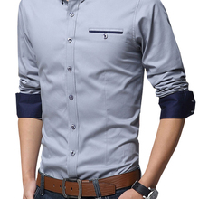 Office Shirt Mens Dress Business Long-Sleeve Social Legible White Male Casual Cotton