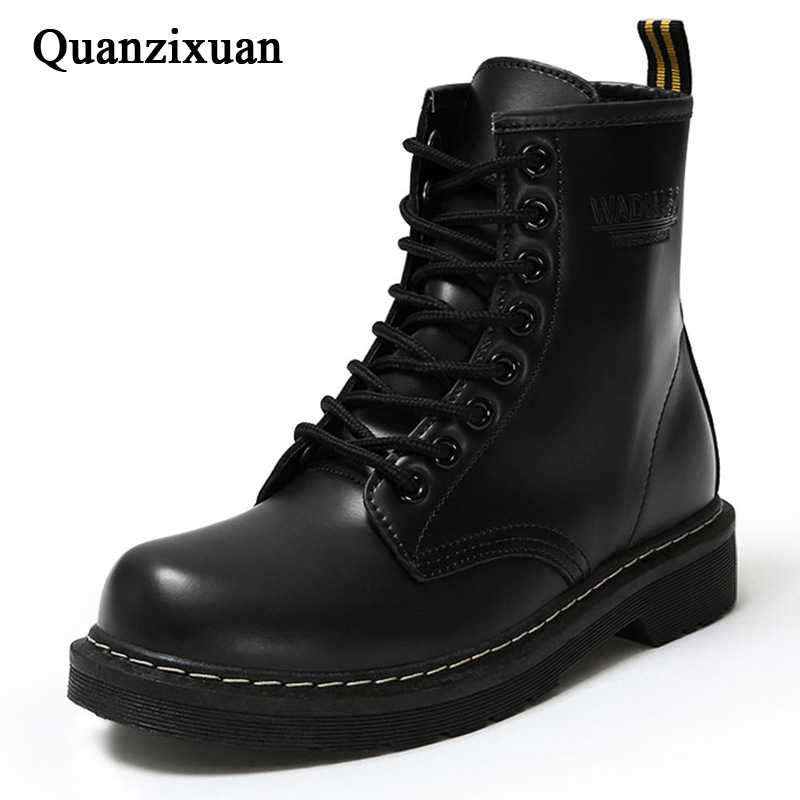 Fashion Ankle Boots Winter Ankle Boots Pu Leather Women Boots Work Shoes Round Toe Lace-Up Women Shoes Black Female