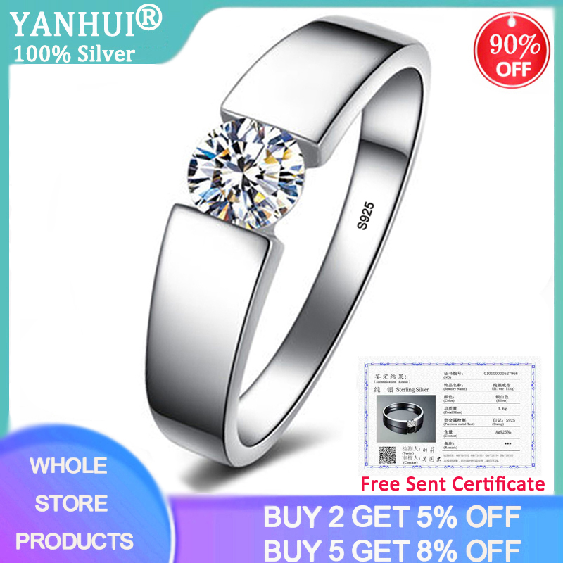 With Certificate Genuine 925 Sterling Silver Rings for Men Women Couple Rings Wedding Band Female Finger Ring Fine Jewelry RD10