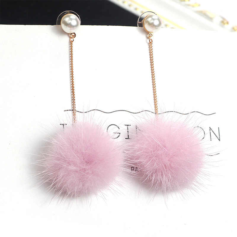 Women Autumn Winter Simple Fur Ball Long Tassel Earring Circular Pendant Earrings Fluffy Bun Pendant Fashion Jewelry