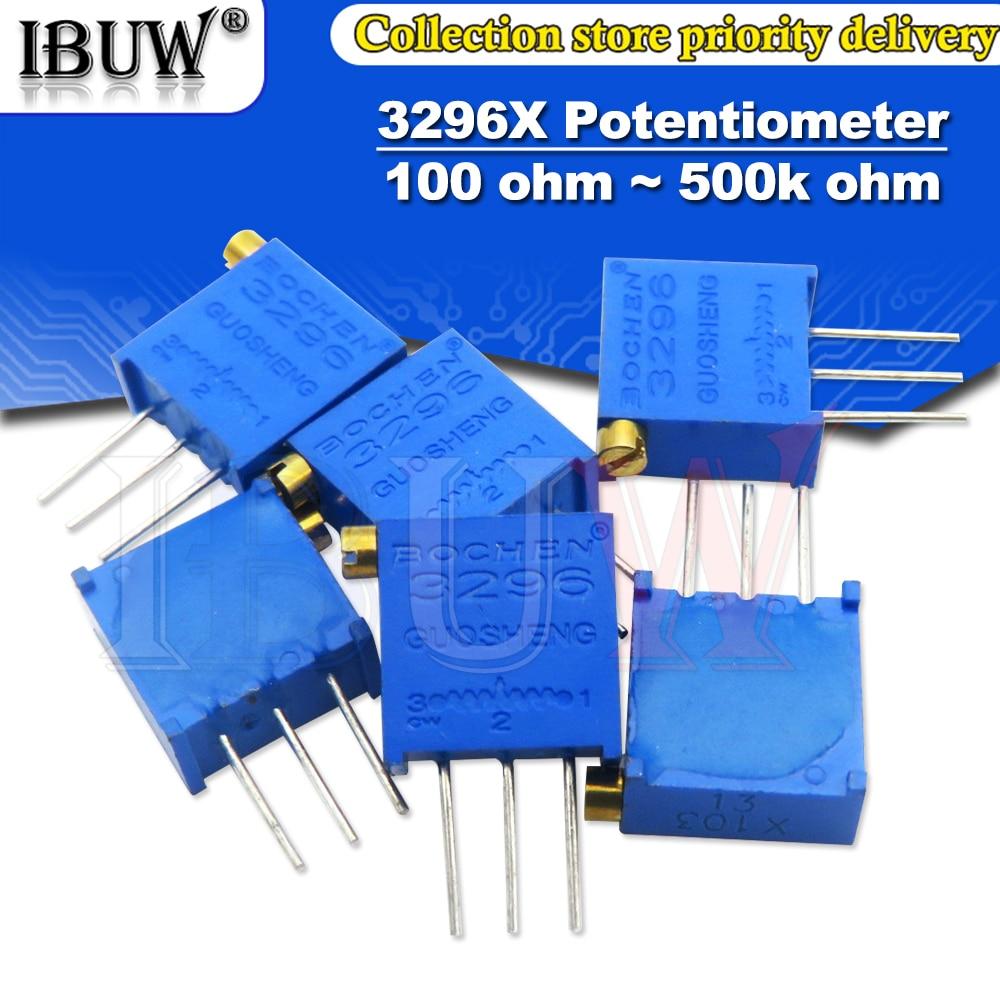 10PCS 3296 3296X Potentiometer resistanceohm Trimpot Trimmer 1K 2K 5K 10K 20K 50K 100K 200K 500K 1M ohm  100R 200R 500R