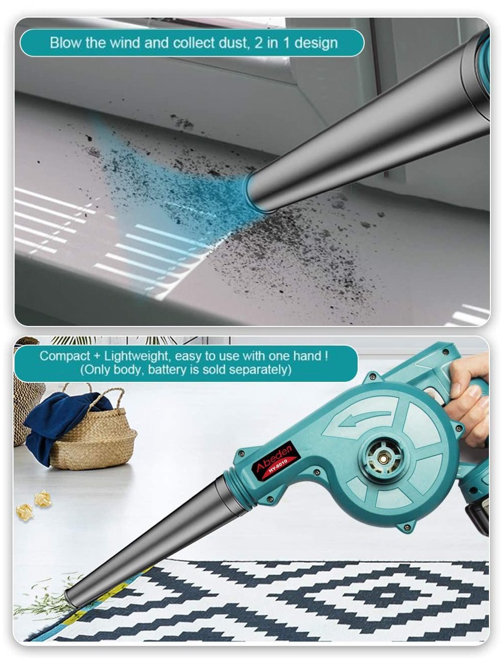 Abeden Computer Blower Hand Tool Power Vacuum 18V Blowing No Air Operat Dust Blower Cordless For Collector Dust Battery Clean