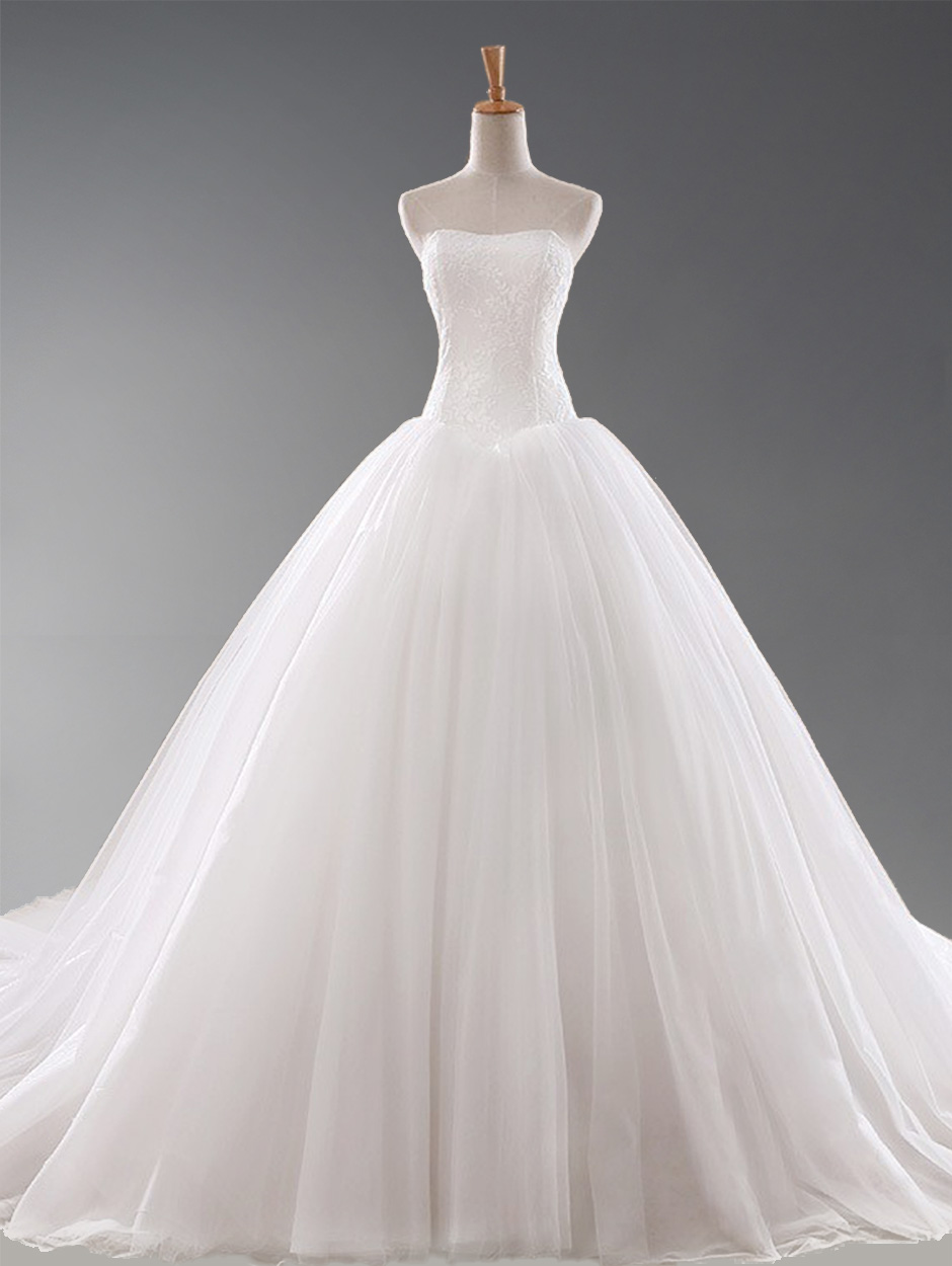 Wedding Dress Ball Gown Strapless Chapel  Train Sleeveless Tulle Lace Up White Embroidery