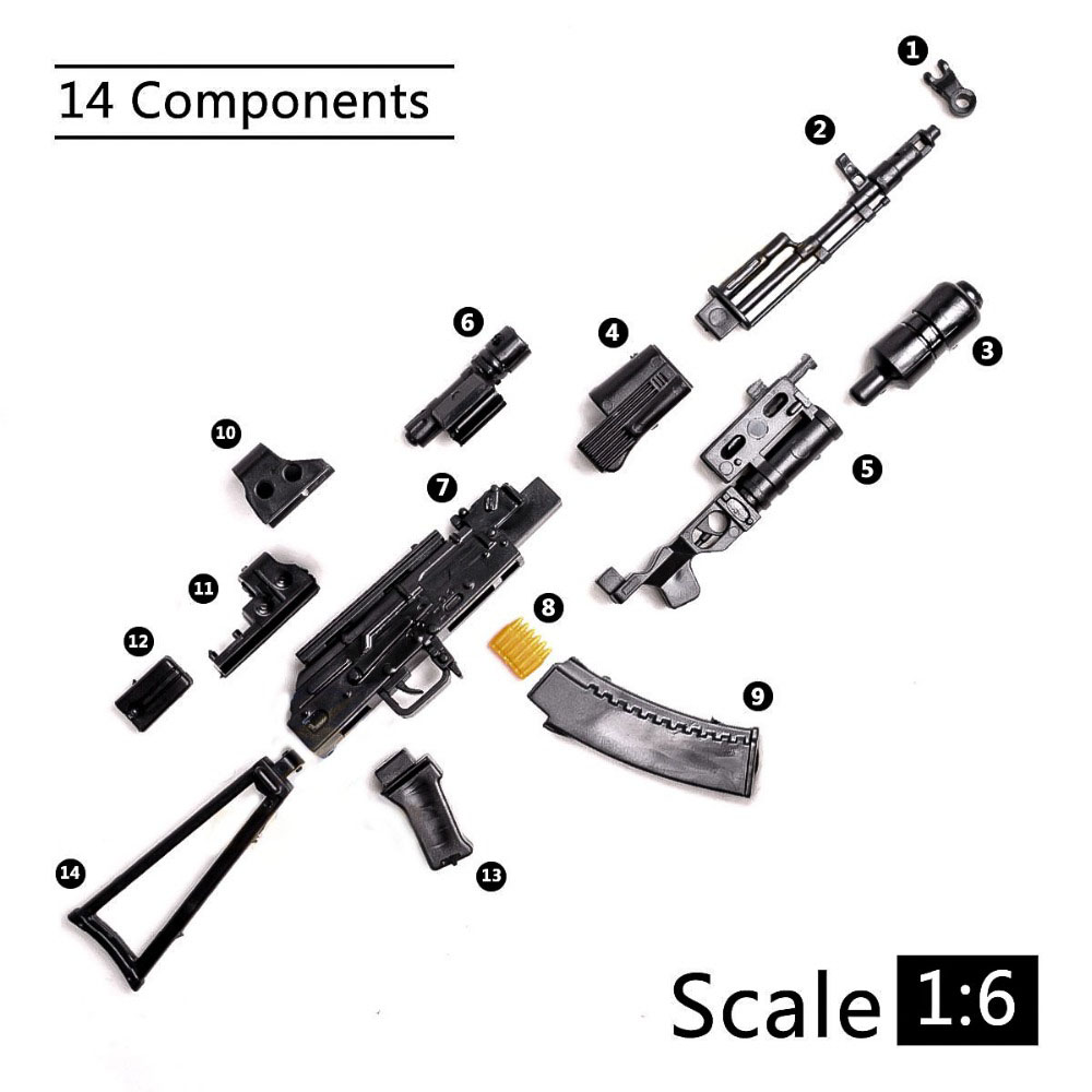 1:6 1/6 Scale 12 Inch Action Figures AK74 Model Guns Toy Rifle Gun T800 Heavy Machine Guns + Bullet Belt Kids Toys DIY Gift