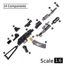 1:6 1/6 skala 12 cal Action Figures AK74 Model pistolety zabawki karabin T800 ciężka maszyna pistolety + Bullet Belt dzieci zabawki DIY prezent
