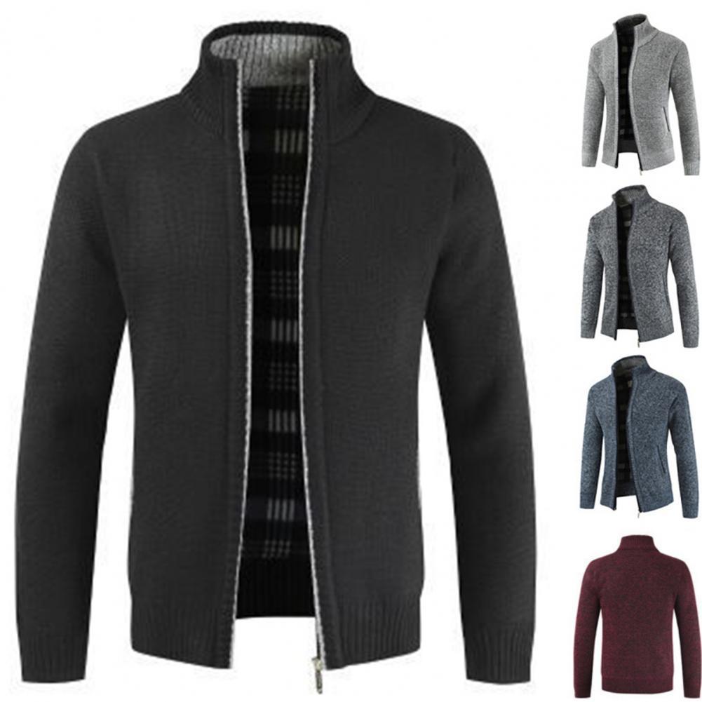 Autumn Winter Men Knitted Sweater Pockets Plush Liner Warm Slim Cardigan Coat 1