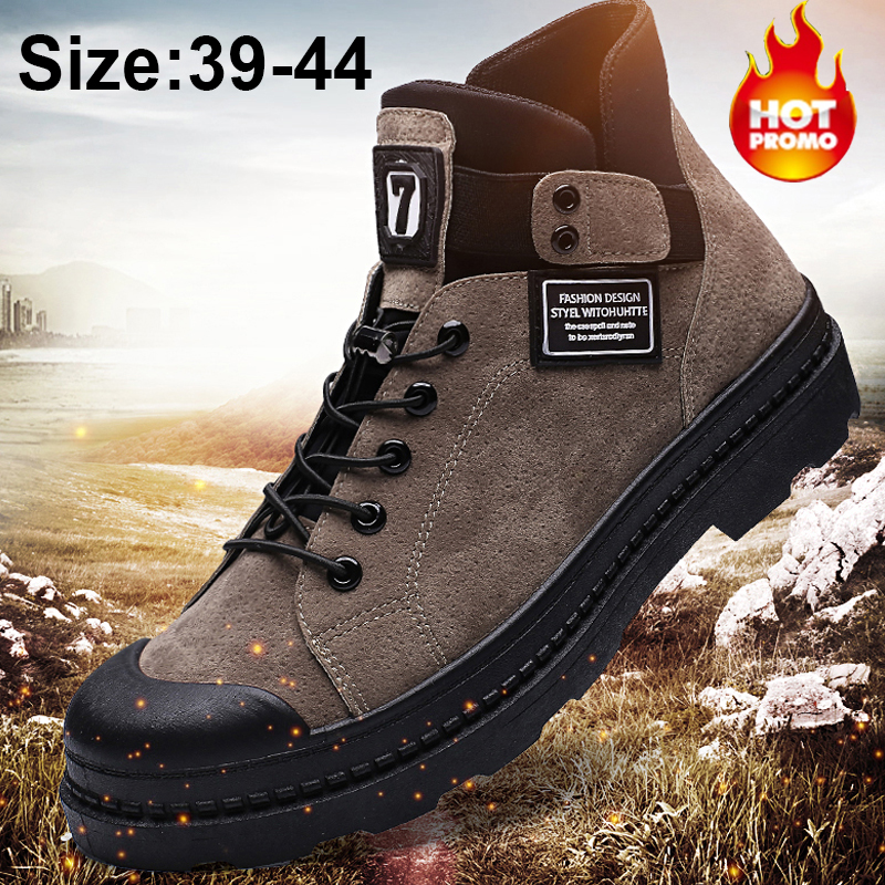 2020 Winter Men's Boots Warm PU Leather Male Waterproof Shoes Chaussure Mans Casual Shoes For Men Boots Footwear Male Sneakers image