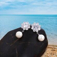 цена на Women's Fashion stainless steel Crystal Rhinestone Earrings Female Jewelry Gift Fashion Inlaid Pearl Earrings Wedding party gift