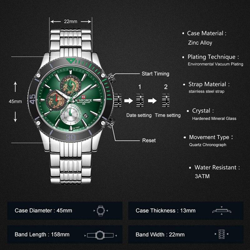 NAVIFORCE мужские часы Топ бренд большой циферблат спортивные часы мужские Роскошные Кварцевые наручные часы хронограф мужской Relogio Masculino - 2