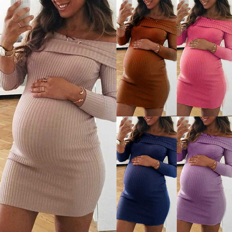 Loozykit 2019 Maternity Dress Autumn Winter Pregnancy Clothes Pregnant Women Shoulderless Long Sleeve Sexy Mummy Clothing