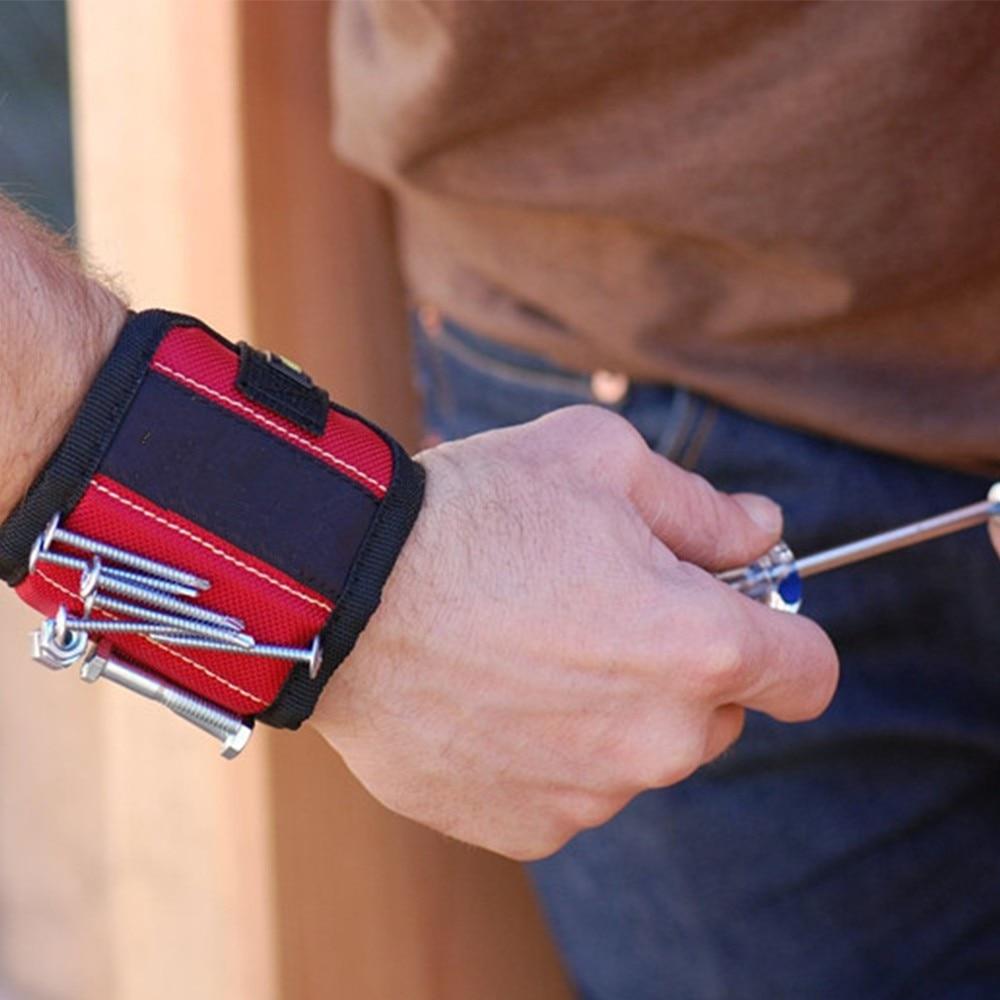 Magnetic Wristband Wrist Band Tool Belt Cuff Bracelet Nail Screw Kit Set RED NEW