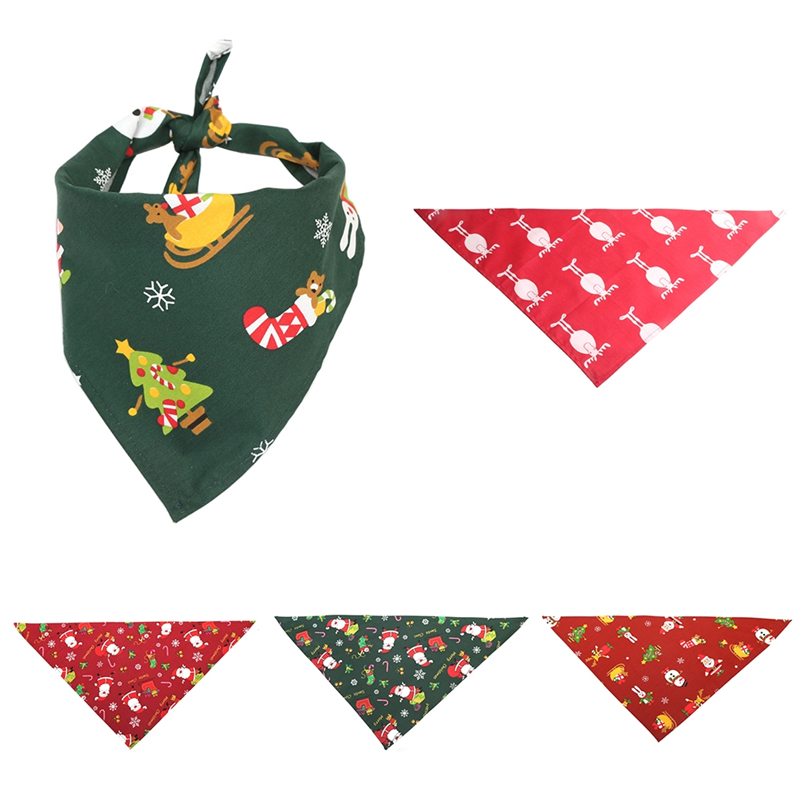 Dog Accessories Scarf Triangle Towel Pet Neckerchief Polyester Peachskin Waterproof Printing Adjustable Bandana Scarf Collar