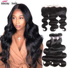 Cheap Malaysian Body Wave 3 Bundles with Closure Human Hair Bundles with Frontal Transparent Lace Frontal and Bundles(China)
