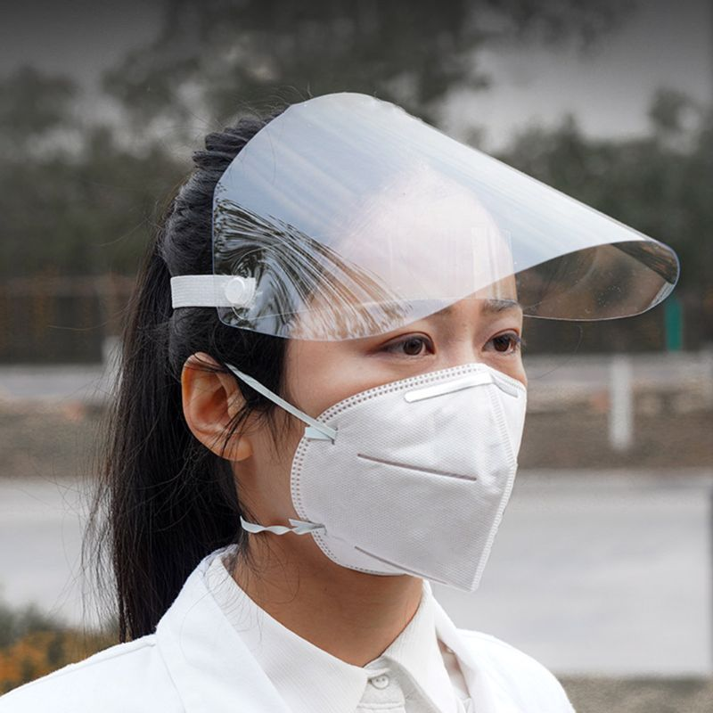 Full Face Protective Shield Visor PET Plastic Adjustable Transparent Face Shield With Elastic Band To Prevent Saliva