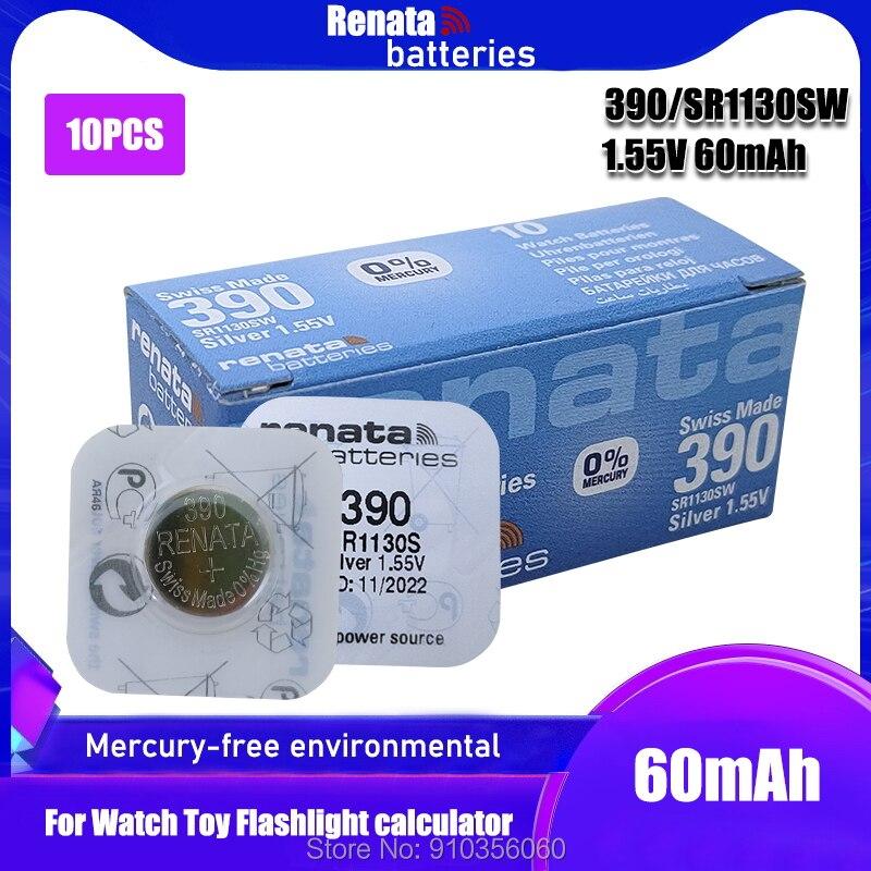 10 шт., Renata 390, 100% оригинальный, новый, оксид серебра, часы, батарея, длительный срок службы, SR1130SW 1130 LR54 LR54 AG10, Swiss Made cell