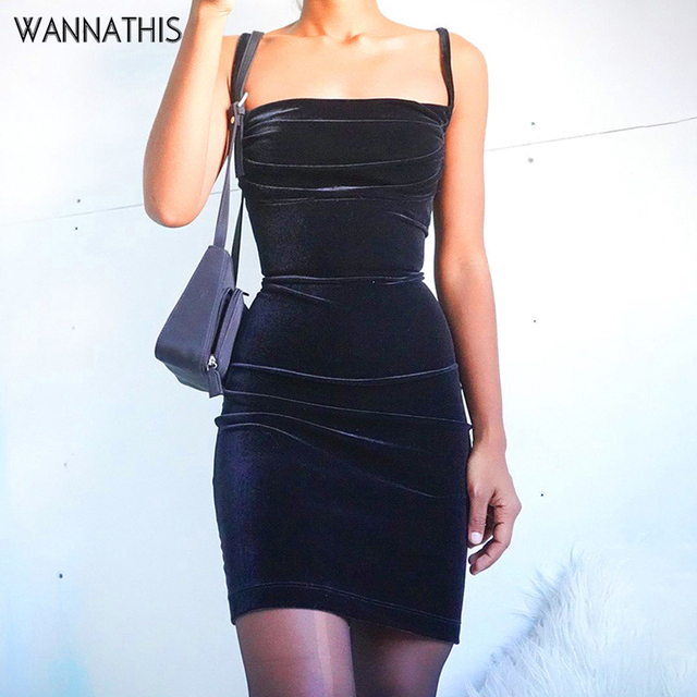 WannaThis Black Velvet Spaghetti Strap Dress Front Ruched Mini Skinny Sleeveless Off Shoulder Women Fashion Elegant  Party Dress 1