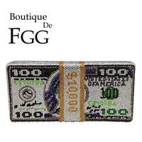 Boutique De FGG Stack of Cash Hot Fixed Crystals Women Money Evening Clutch Bags Diamond Wedding Dinner Purses and Handbags