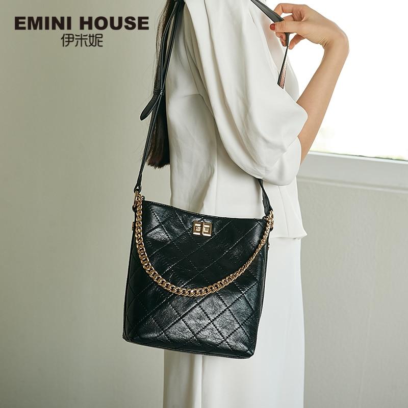 EMINI HOUSE Oil Wax Diamond Lattice Bucket Bag Genuine Leather Wide Strap Shoulder Bag Luxury Handbags Women Bags Designer-in Top-Handle Bags from Luggage & Bags