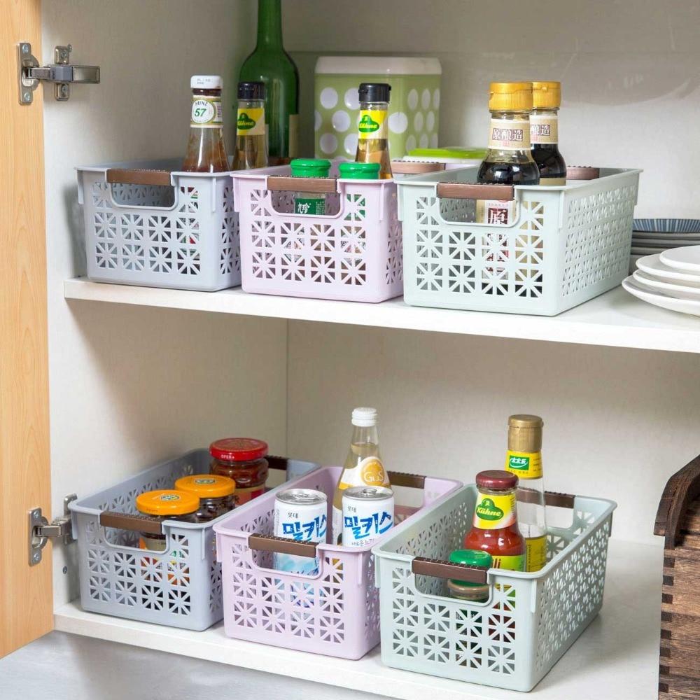 Desktop Sundries Storage Basket Toy Cosmetic Snacks Spice Storage Box Fruit Basket Container Kitchen Bathroom Cupboard Organizer