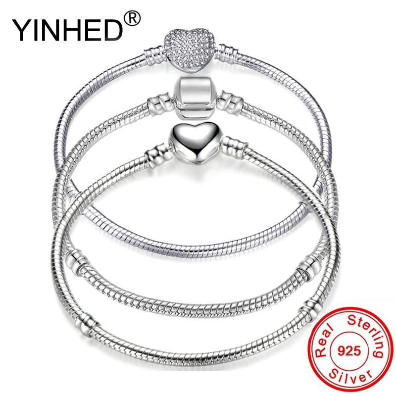YINHED Hot Sale 3 Style Pan Bracelet Women Original 925 Sterling Silver Snake Chain Bangle Bracelet DIY Jewelry Fit Beads ZB041